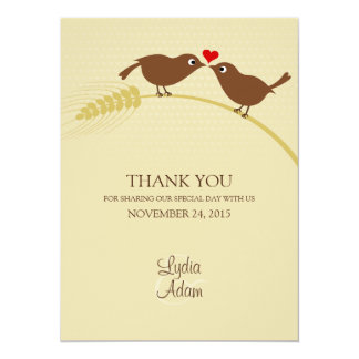 "Love Birds 5.5"" x 7.5"" Wedding Thank You Card"