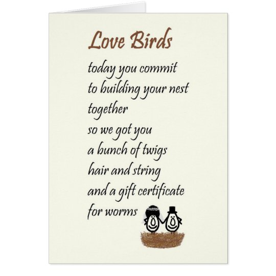 Love Birds A Funny Wedding Poem Card Zazzle Co Uk
