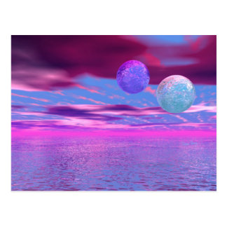 Love Birds - Abstract Pink and Purple Passion Postcard