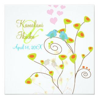 Love birds, add your background.. 13 cm x 13 cm square invitation card