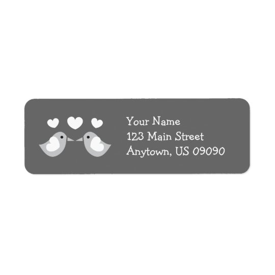 Love Birds Address Labels (Grey)