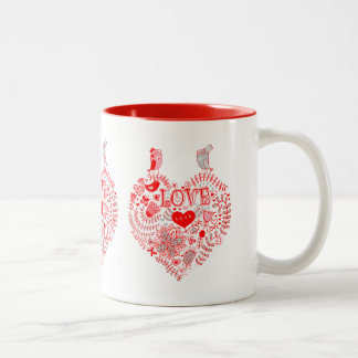 Love Birds And A Heart Made With Colorful Flowers Two-Tone Mug