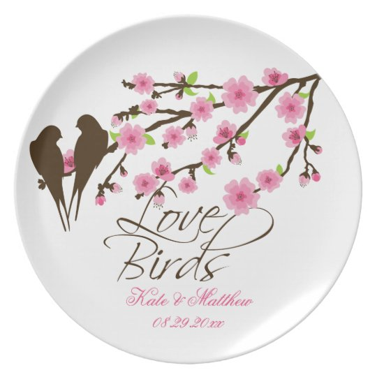 Love Birds and Cherry Blossoms Personalised Plate