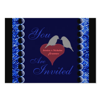 Love Birds and Hearts Blue Wedding Invitation