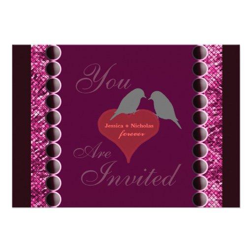 Love Birds and Hearts Purple Wedding Invitation