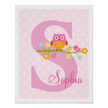 Love Birds and Owl on Branch Polka Dots Art Print
