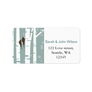 Love Birds Birch Tree Winter Wedding Address Label