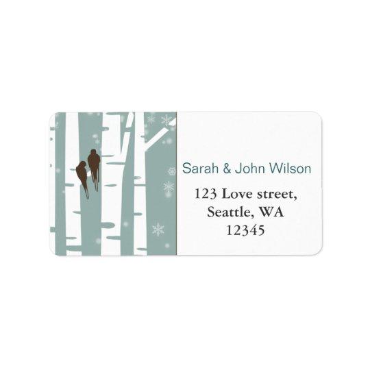 Love Birds Birch Tree Winter Wedding Address Label