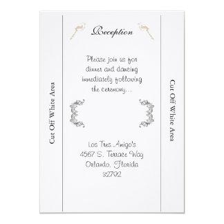 Love Birds Black/White Wedding Reception Card 13 Cm X 18 Cm Invitation Card