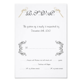 Love Birds Black/White Wedding RSVP Card 9 Cm X 13 Cm Invitation Card