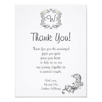 Love Birds Black/White Wedding Thank You Card 11 Cm X 14 Cm Invitation Card