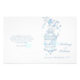 Love birds blue Wedding Programme
