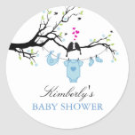 Love Birds   Boy Baby Shower Sticker