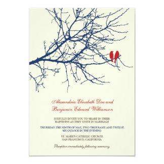 Love Birds Branch Wedding Invitation (navy)