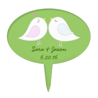 Love Birds Cake Topper with Green Background