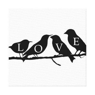 Love Birds Stretched Canvas Prints