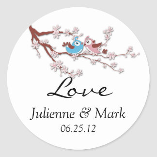 Love Birds Cherry Blossom Wedding Sticker