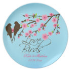 Love Birds Cherry Blossoms Personalised Plate