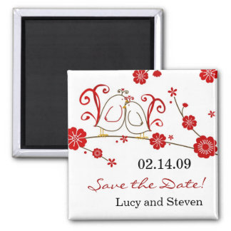 Love Birds Cherry Blossoms Save the Date Magnet
