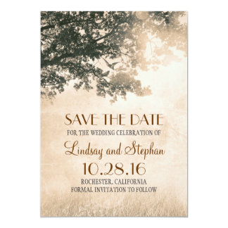 Love Birds Couple Old Tree Save The Date Invites
