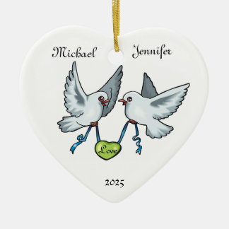 Love Birds Couple Wedding Love - Heart Ornament