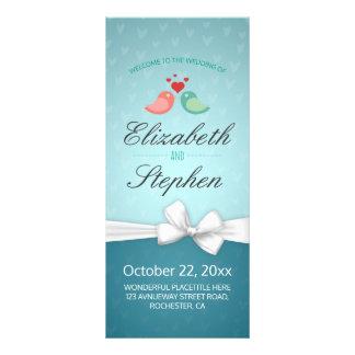 Love Birds Couple & White Ribbon Wedding Programs Rack Card