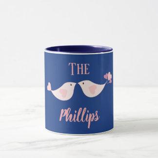 Love birds custom blue and pink mug