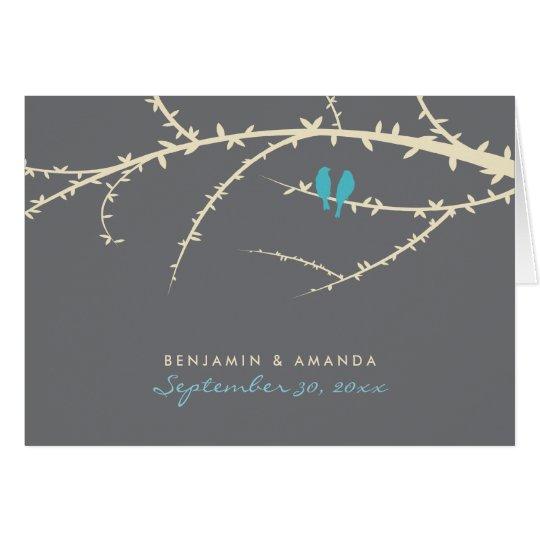 Love Birds Custom Thank You Card (aqua)