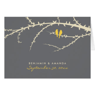 Love Birds Custom Thank You Card (lemon)