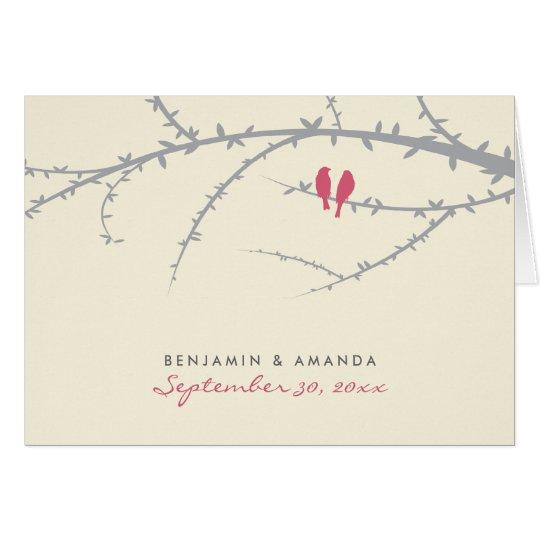 Love Birds Custom Thank You Card (pink)