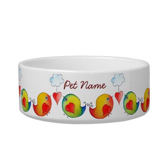 Love Birds Customisable Pet Bowl