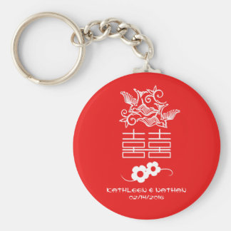Love Birds - Double Happiness - Wedding Favors Basic Round Button Key Ring