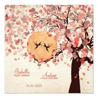 Love Birds - Fall Wedding 13 Cm X 13 Cm Square Invitation Card