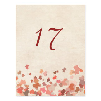 Love Birds - Fall Wedding  Table Number Card Postcard