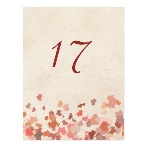 Love Birds - Fall Wedding  Table Number Card Post Cards