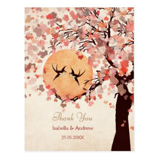 Love Birds - Fall Wedding  Thank You Card Postcard