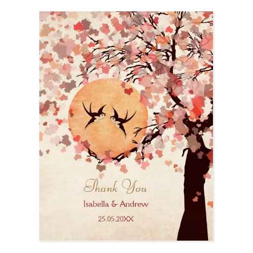 Love Birds - Fall Wedding  Thank You Card Post Cards