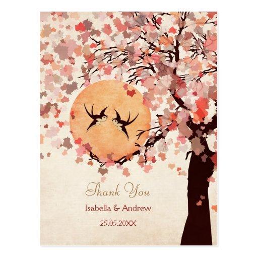 Love Birds - Fall Wedding  Thank You Card Post Cards