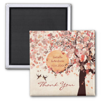 Love Birds - Fall Wedding  Thank You Favor Square Magnet