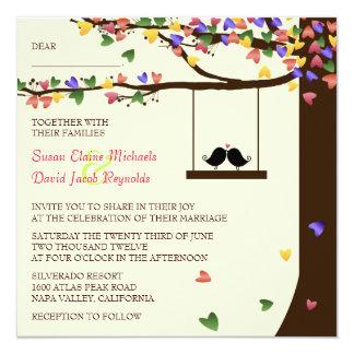 Love Birds Falling Colorful Hearts Oak Tree 13 Cm X 13 Cm Square Invitation Card