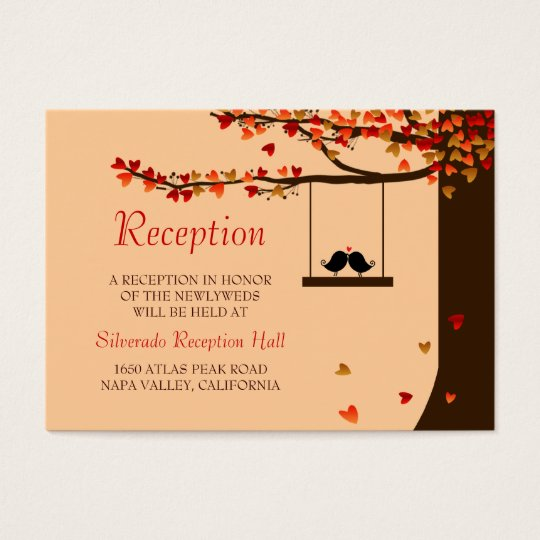 Love Birds Falling Hearts Mini Reception 100pk Business Card