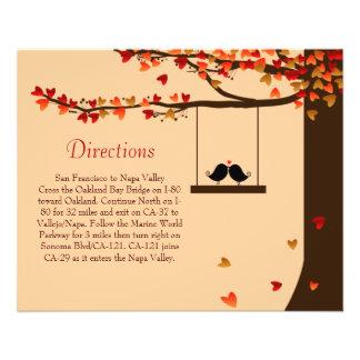 Love Birds Falling Hearts Oak Tree Directions Card