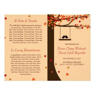 Love Birds Falling Hearts Oak Tree Program 21.5 Cm X 28 Cm Flyer