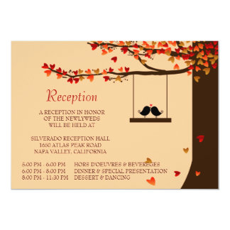 Love Birds Falling Hearts Oak Tree Reception Card 13 Cm X 18 Cm Invitation Card