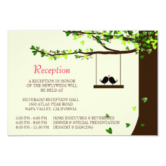 Love Birds Falling Hearts Oak Tree Reception Card 9 Cm X 13 Cm Invitation Card