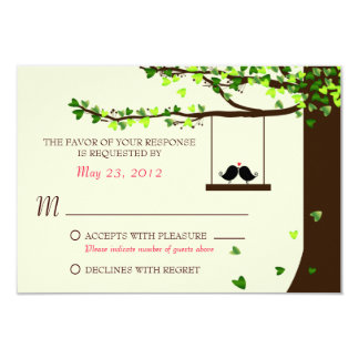 Love Birds Falling Hearts Oak Tree RSVP 9 Cm X 13 Cm Invitation Card