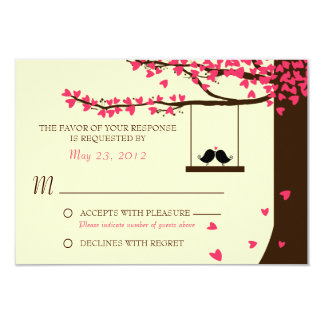 Love Birds Falling Hearts Oak Tree RSVP Card
