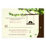 Love Birds Falling Hearts Oak Tree RSVP Personalised Invites