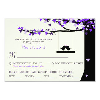 Love Birds Falling Hearts Oak Tree RSVP (Meal) 9 Cm X 13 Cm Invitation Card