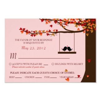 Love Birds Falling Hearts Oak Tree RSVP (Meal) Invitation